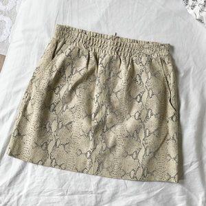 snakeskin print leather skirt